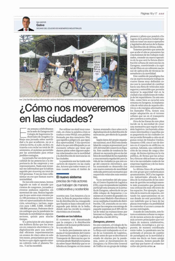 SALVADOR GALVE ELPERIODICODEARAGON 200920 | El Colegio acoge las Jornadas de Movilidad del CITET |%sitename%