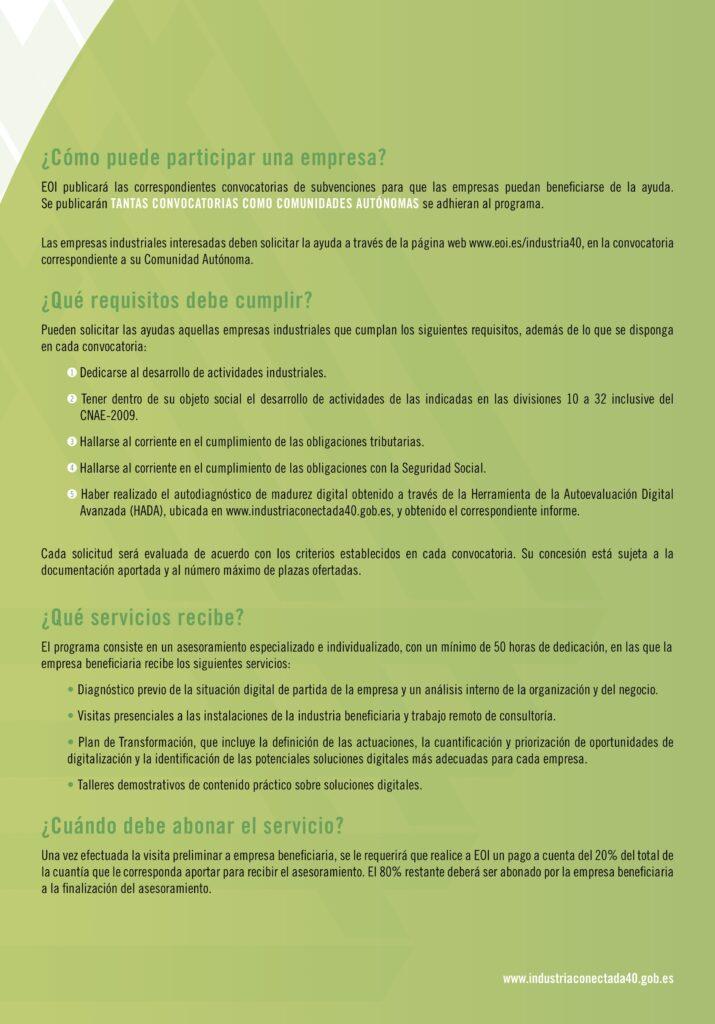 3EOI FOLLETO INDUSTRIA 2020 15 10 2020 2 | La EOI lanza una convocatoria de ayudas para impulsar la Industria 4.0 en Aragón |%sitename%
