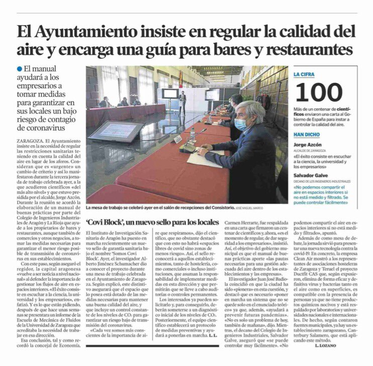 Ey6e7lnWQAM1zl2 | Zaragoza regulará la calidad del aire y encarga a los Ingenieros Industriales una guía de buenas prácticas para establecimientos hosteleros |%sitename%